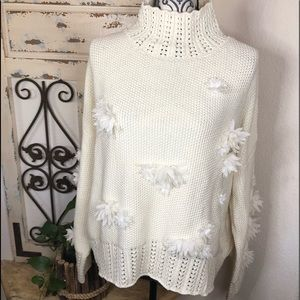 Foxiedox cream floral detail oversized sweater
